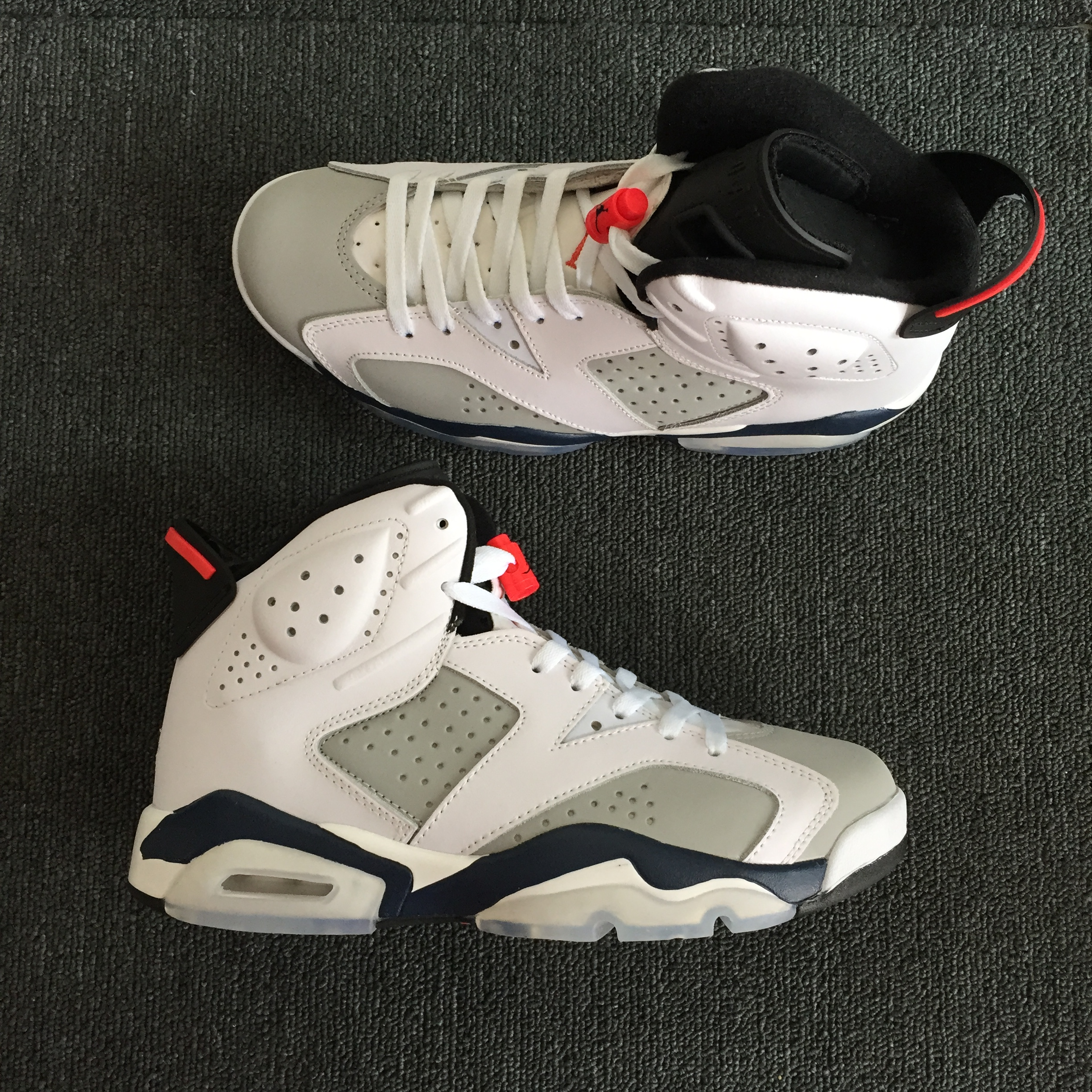 Air Jordan 6 Tinker White Grey Black Red Shoes - Click Image to Close