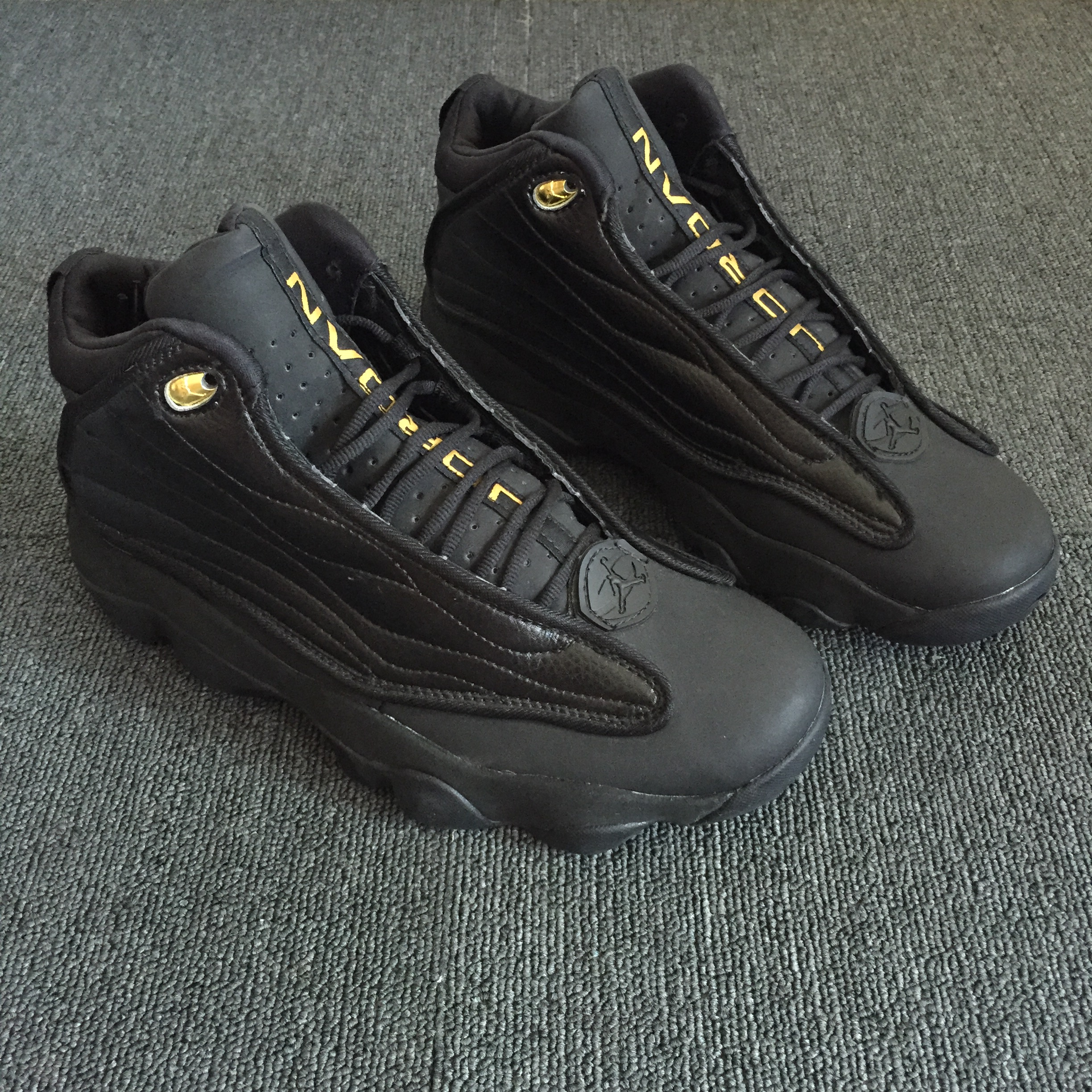 Air Jordan Pro Strong All Black Yellow Shoes