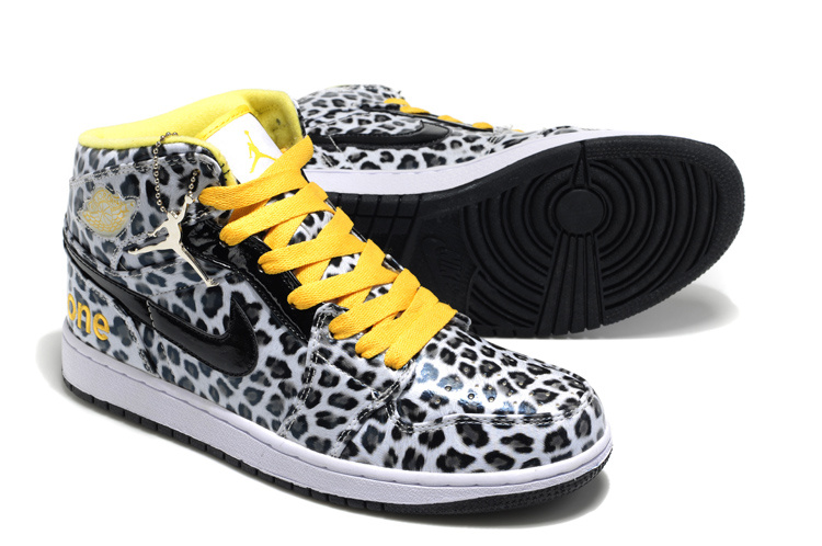 Air Jordan 1 Leopard Leather White Black Yellow Shoes