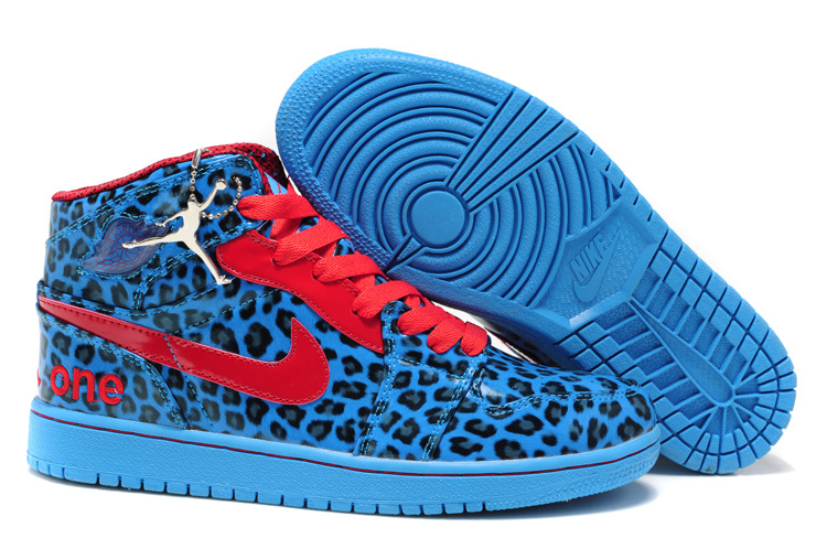 Air Jordan 1 Leopard Leather White Blue Red Shoes