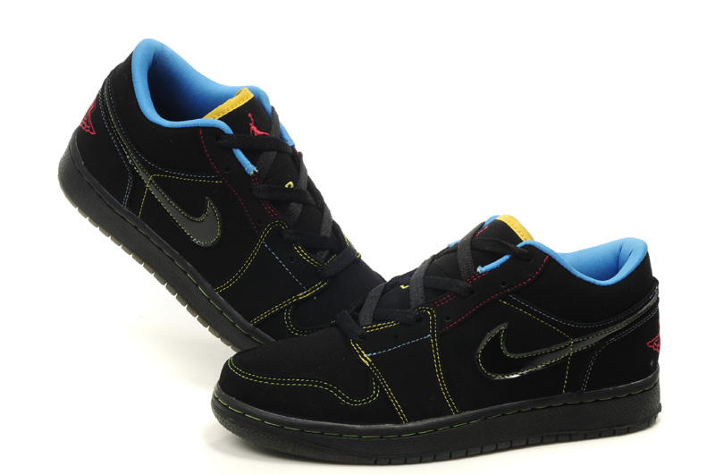 Air Jordan 1 Low Black Blue Shoes