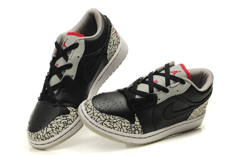 Air Jordan 1 Low Black Grey Cement Shoes