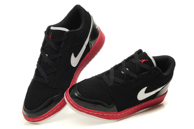 Air Jordan 1 Low Black Red White Shoes