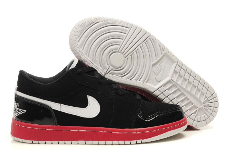 Air Jordan 1 Low Black Red White Shoes