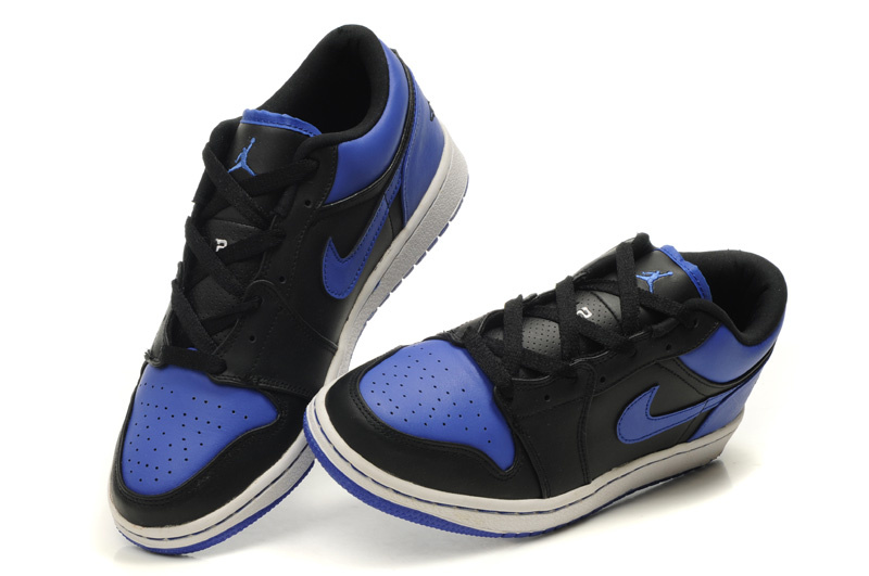 Authentic Air Jordan 1 Low Black White Blue Shoes On Sale