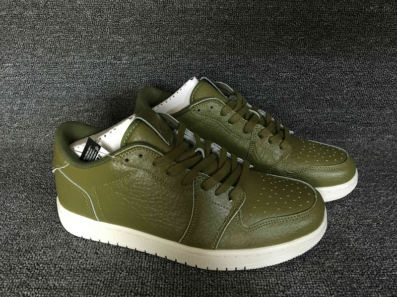 2016 Jordan 1 Low No Swoosh Army Green Shoes