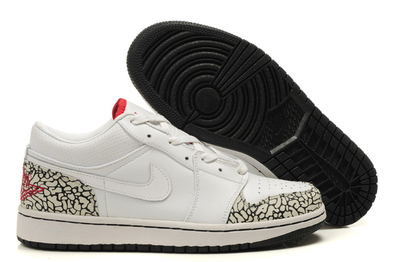 Air Jordan 1 Low White Cement Black Shoes