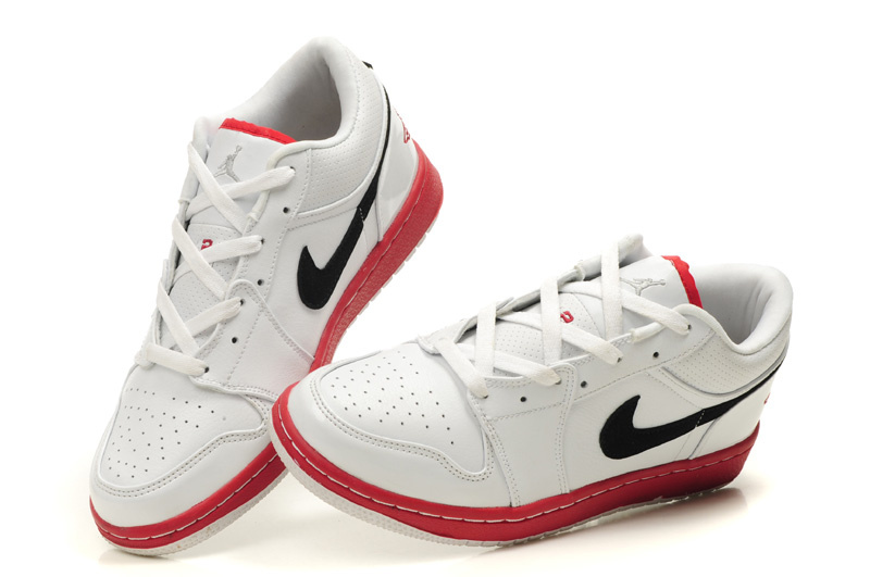 Air Jordan 1 Low White Red Black Shoes