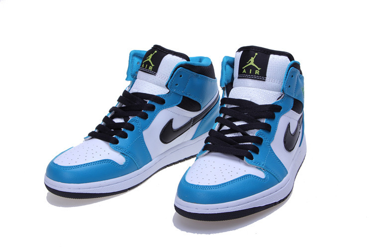 Women Jordans 1 Mid White Blue Black