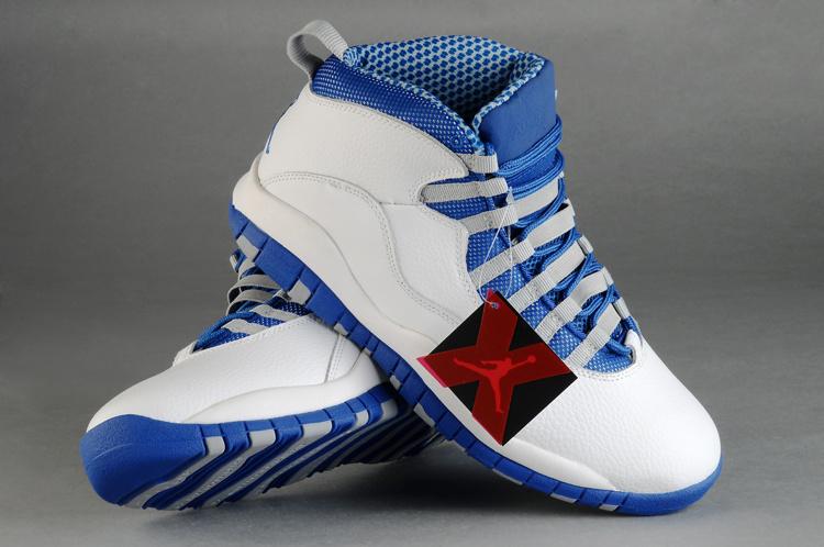 Mens Air Jordan Retro 10 White Blue shoes