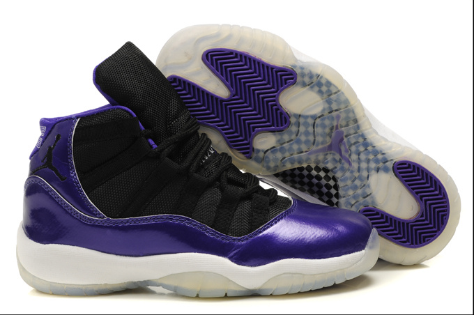 Air Jordan 11 Black Purple White For Women