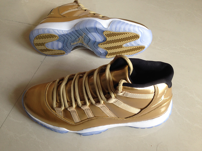 2015 Gold White Air Jordans 11