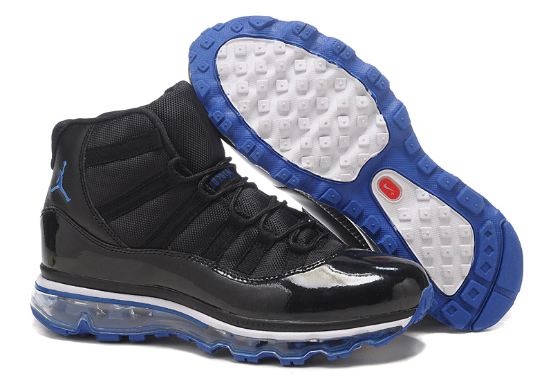 Air Jordan 11 Max Black Blue Basketball Shoes