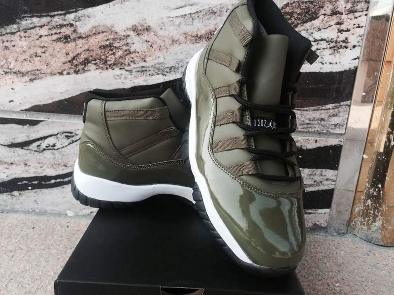 2017 Jordan 11 Olive Green Shoes