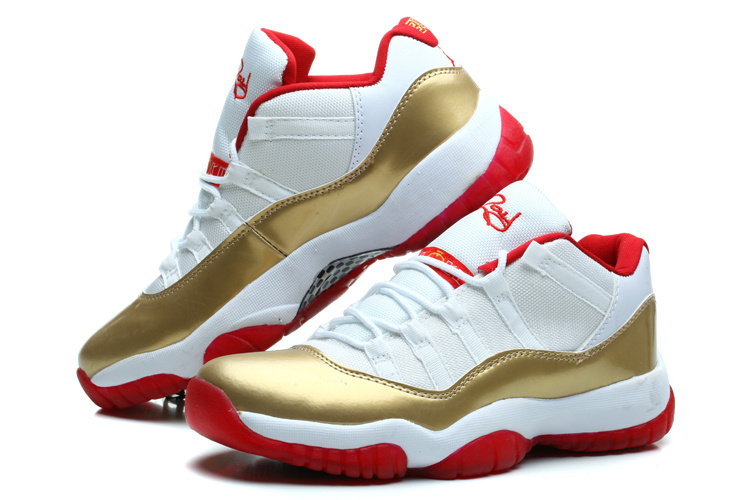 Air Jordan 11 Retro Low White Gold Red Shoes