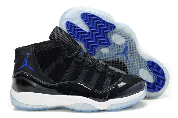 Air Jordan 11 Suede Black White Blue Shoes