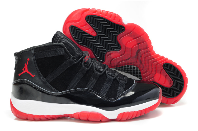 Air Jordan 11 Suede Black White Red Shoes
