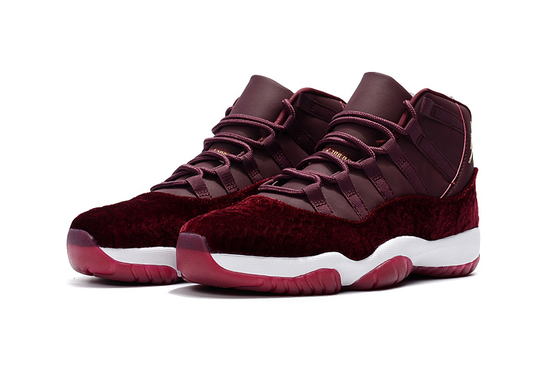 2017 Jordan 11 Velvet Night Maroon Wine Red Gold Shoes