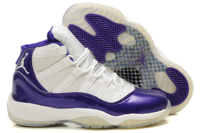 Air Jordan 11 White Purple For Women