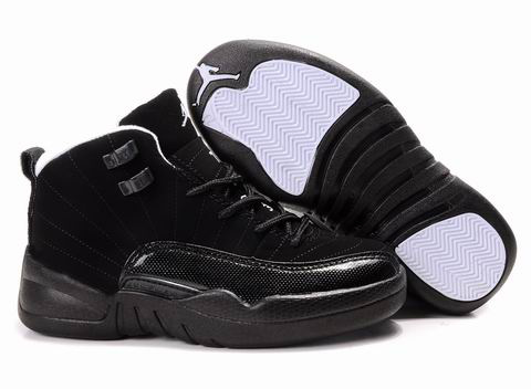 Authentic Air Jordan 12 Black For Kids