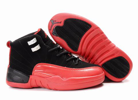 Authentic Air Jordan 12 Black Red For Kids