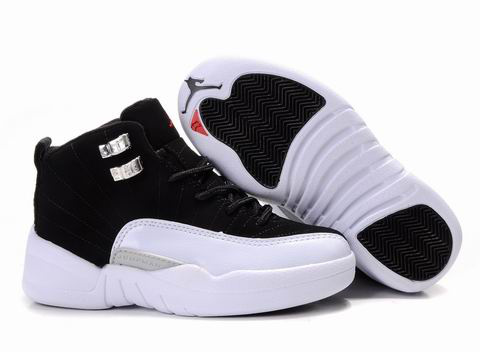 Authentic Air Jordan 12 Black White For Kids