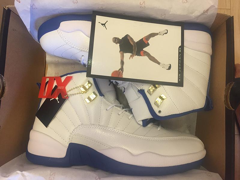2016 Jordan 12 OG UNC White Blue Shoes