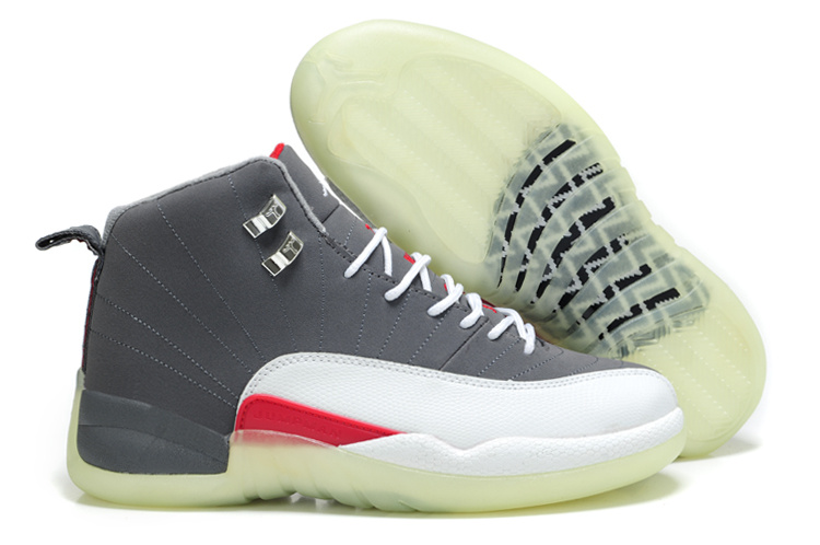 Air Jordan 12 Shine Sole Grey White Red Shoes