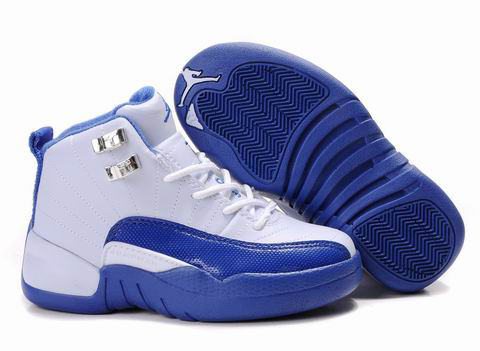 Authentic Air Jordan 12 White Blue For Kids