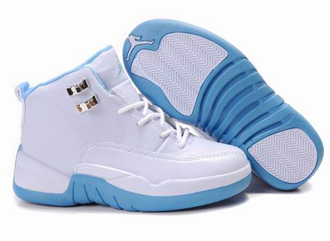 Authentic Air Jordan 12 White Light Blue For Kids