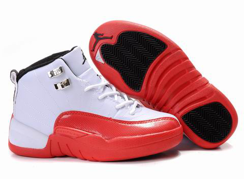 Authentic Air Jordan 12 White Red For Kids