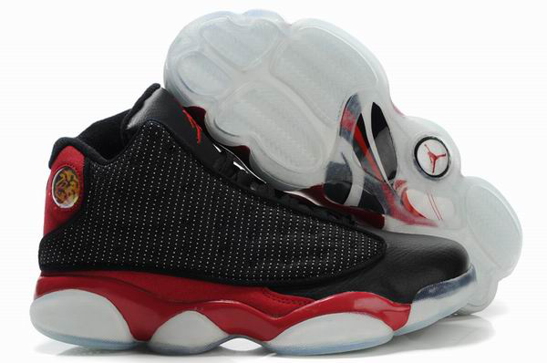 Air Jordan 13 Net Vamp Transparent Sole Black Red White Shoes