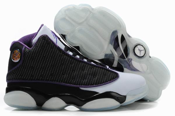 Air Jordan 13 Net Vamp Transparent Sole Black White Purple Shoes
