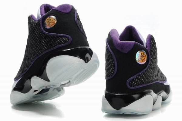 Air Jordan 13 Net Vamp Transparent Sole Black White Purple Shoes