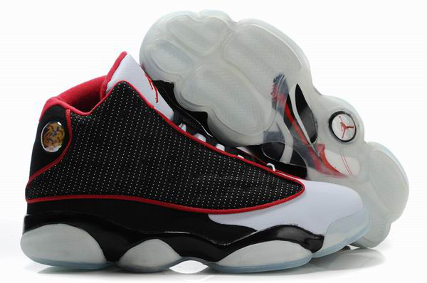 Air Jordan 13 Net Vamp Transparent Sole Black White Red Shoes