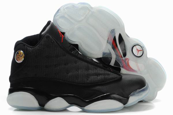 Air Jordan 13 Net Vamp Transparent Sole Black White Shoes