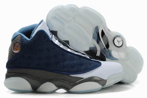 Air Jordan 13 Net Vamp Transparent Sole Blue White Grey Shoes