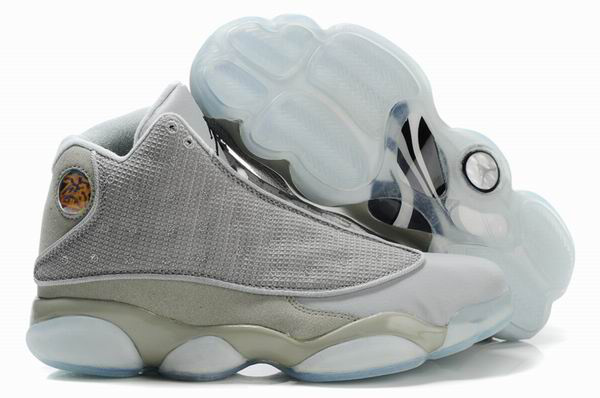 Air Jordan 13 Net Vamp Transparent Sole White Grey Shoes