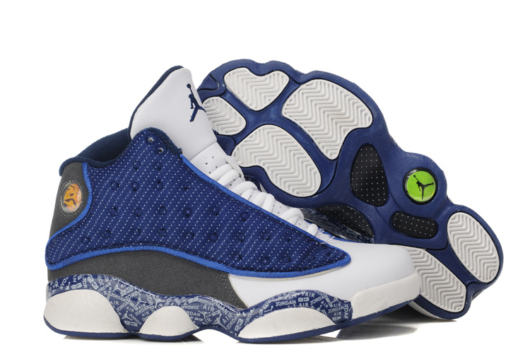 Air Jordan 13 Print White Blue Grey For Women