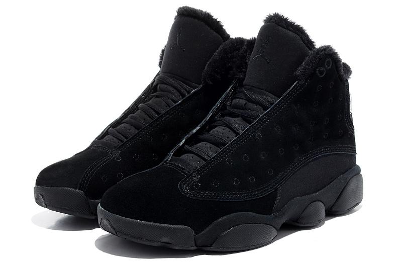Cheap Air Jordan 13 Wool All Black