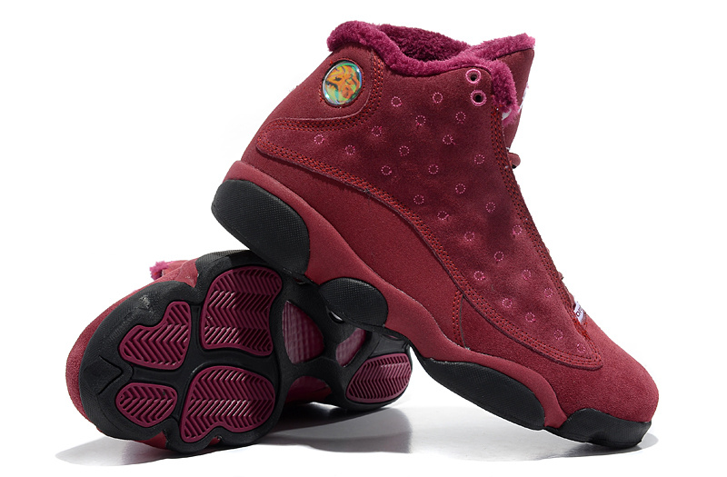 Air Jordan 13 Wool Wine Red Black Shoes