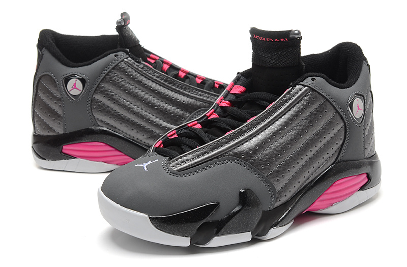 2015 Women Air Jordans 14 Grey Black Pink