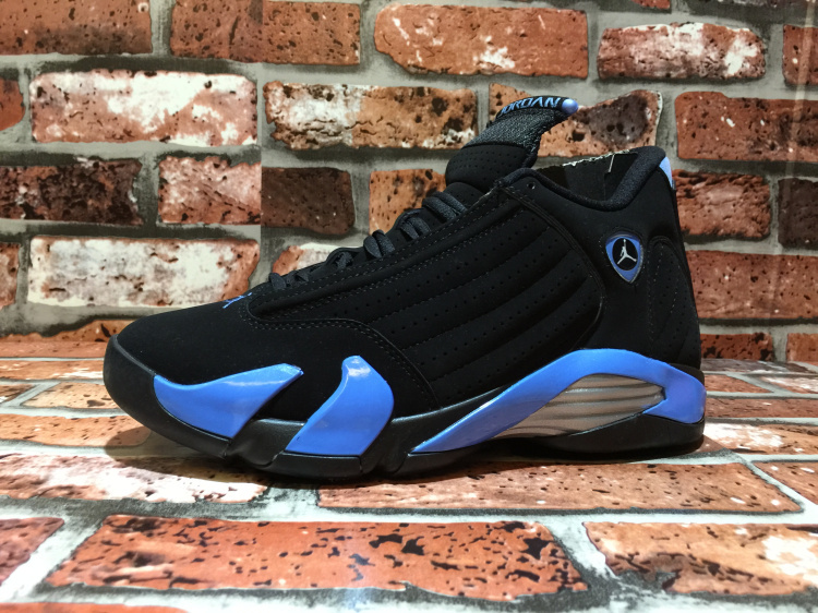 2015 Cheap Real Air Jordan 14 OG North Carolina Black Blue Shoes