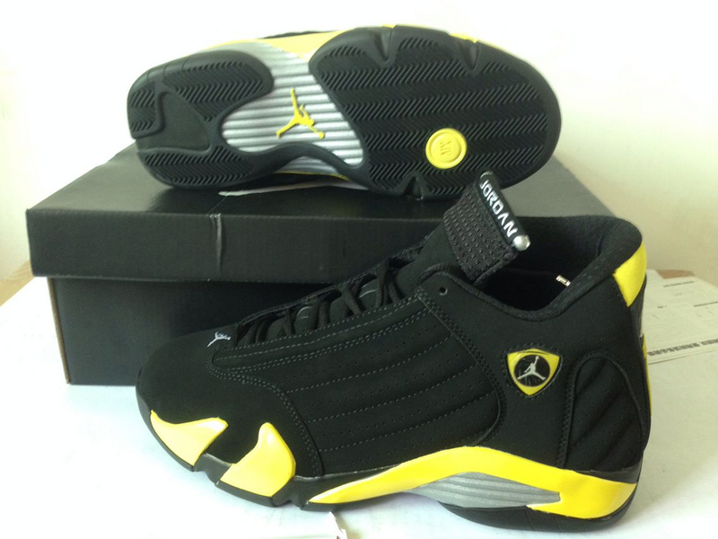 2015 Jordans 14 Thunder Black Yellow