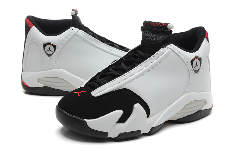 2015 Cheap Real Air Jordan 14 White Black Red Shoes
