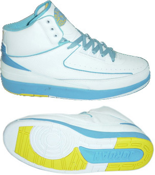 Air Jordan Retro 2 White Light Blue Yellow Chrome