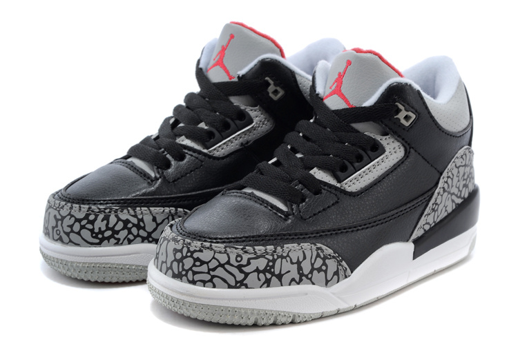 Classic Jordan 3 Black Cement Grey Red Shoes For Kids