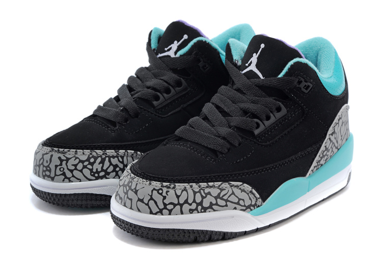 Classic Jordan 3 Black Grey Jade Blue Shoes For Kids