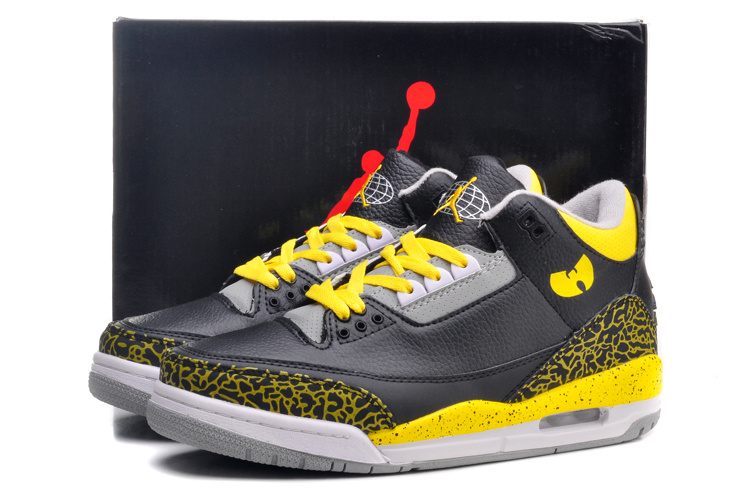 Air Jordan 3 Retro Black Yellow Grey Shoes