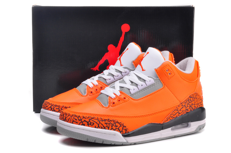 Air Jordan 3 Retro Orange Grey White Black Shoes